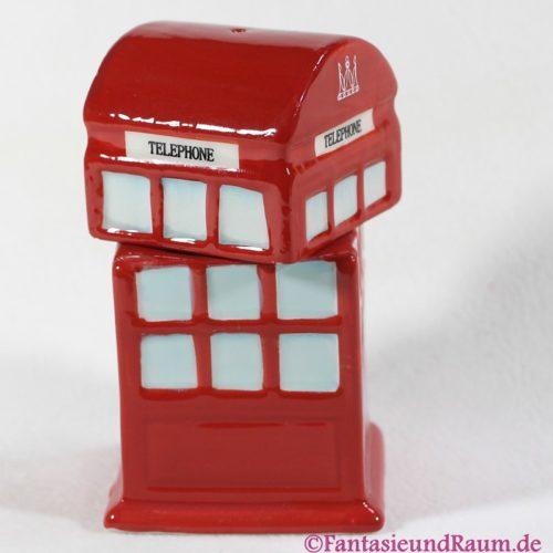 Rote Telefonzelle Eierbecher mit Salzstreuer Aufsatz