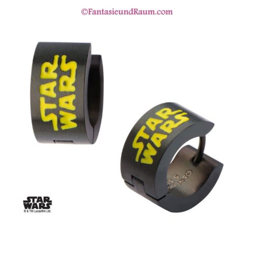 Star Wars Edelstahl-Ohrringe Black Star Wars Enamel Filled Logo